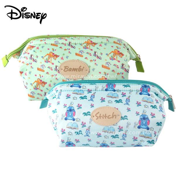 Disney迪士尼緞面滿版碎花大開口立體化妝包萬用包收納包盥洗包袋中袋
