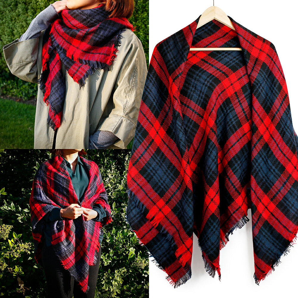 Women Plaid Scarf Tartan Wrap Lattice Large Warm Cozy Blanket Soft Shawl Checked Winter Scarfs for Women 2