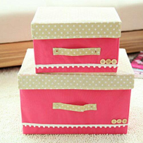 【香草花園】日系點點高質感粉彩蕾絲花邊收納箱/內衣收納/玩具收納 清新甜美款(大)