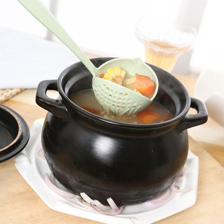 [Hare.D] 小麥秸稈 二合一湯勺 環保 勺子 火鍋勺 漏勺 長柄勺子 小麥餐具
