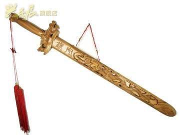 開光桃木雕刻劍神龍劍95cm 家居裝飾擺件飾品工藝品