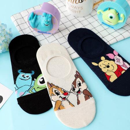 韓國迪士尼好朋友矽膠止滑隱形襪襪子短襪隱形襪船型襪奇奇蒂蒂維尼毛怪大眼仔迪士尼【N102988】