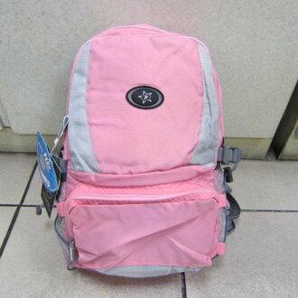 ~雪黛屋~POWERONE BAG 電腦後背包 可放小型尺吋筆電 防水尼龍布材質外出上學萬用包33-839淺粉紅
