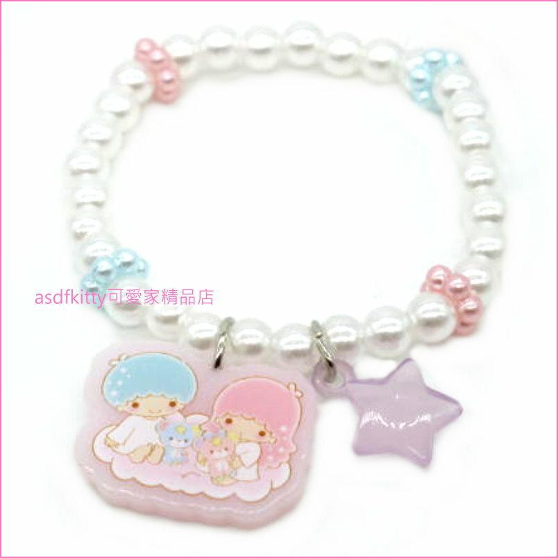 asdfkitty可愛家☆雙子星紫星星兒童彈性塑膠手環/手鍊-日本正版商品