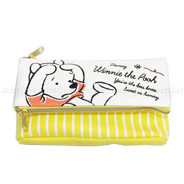 迪士尼 小熊維尼 筆袋 鉛筆盒 雙層帆布三角 文具 正版日本進口 * JustGirl *