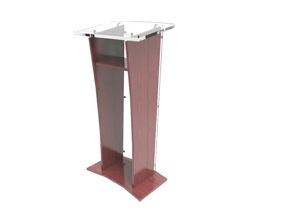 FixtureDisplays Wood Podium with Frost Acrylic Front Panel, 48