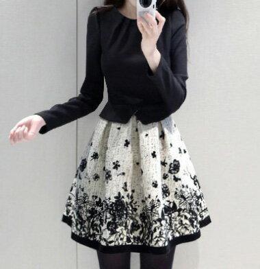 [全店7折]  假兩件拼接長袖印花洋裝 (圖片色,S-2XL) - 梅西蒂絲 3