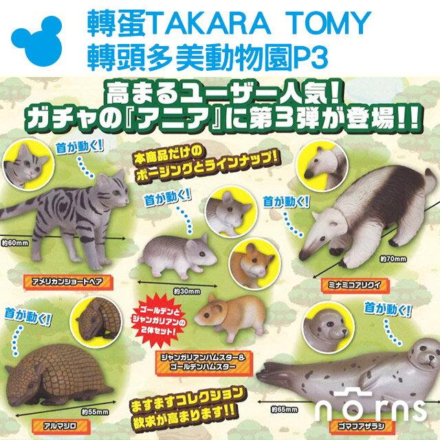 NORNS【轉蛋TAKARA TOMY 轉頭多美動物園P3】日本扭蛋公仔玩具貓咪倉鼠 食蟻獸 穿山甲 海豹 可愛