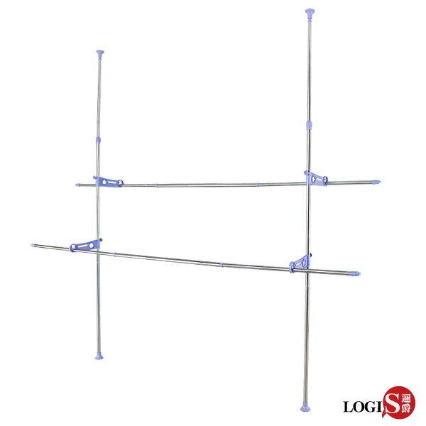 LOGIS-雙桿頂力式衣架不鏽鋼衣架曬被架晾衣曬衣架高3.1米【6031L】