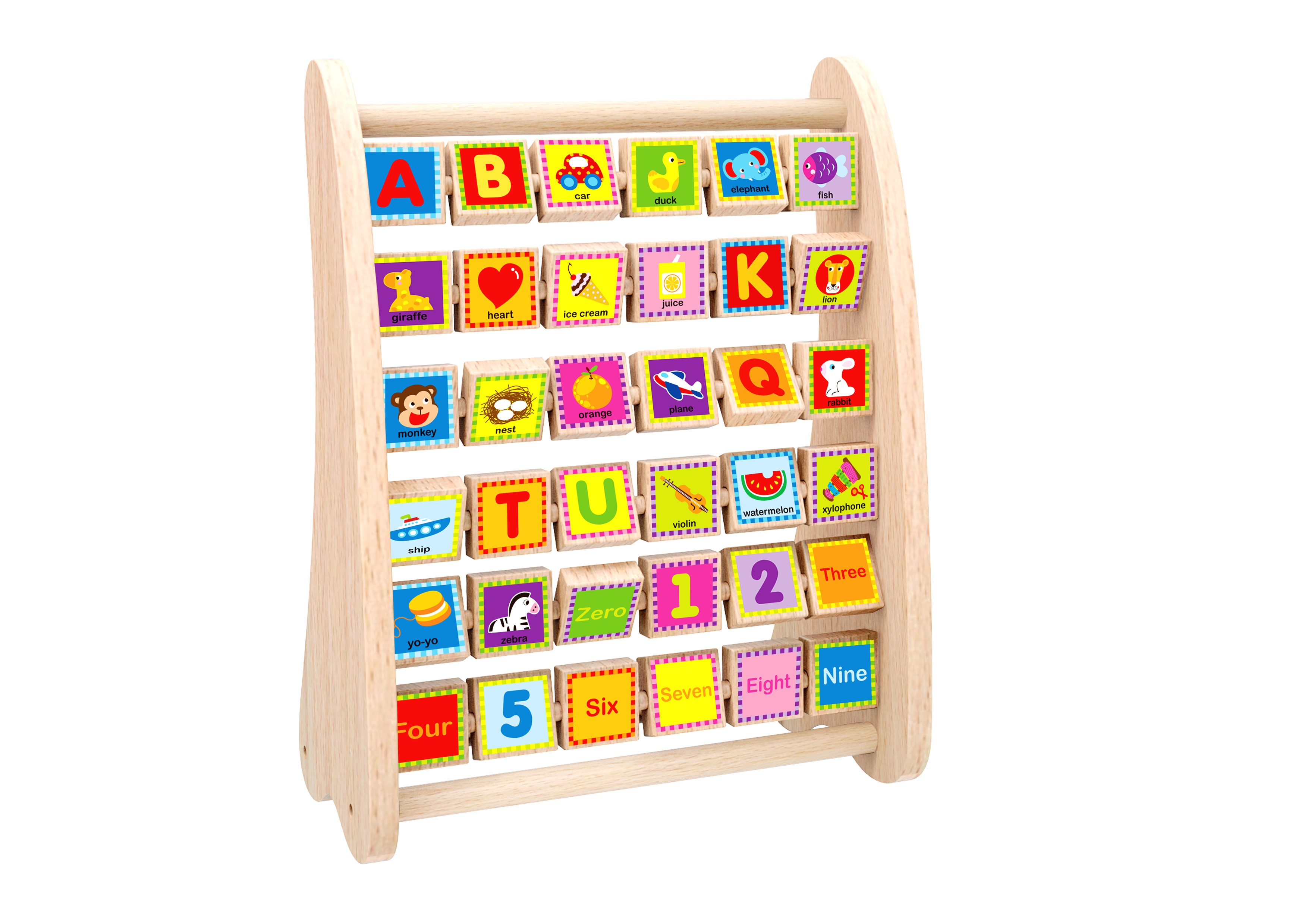 Toysters Wooden Alphabet And Number Abacus Colorful Abc Blocks And Math Learning Activity Center For Toddlers Educational Montessori Toy Helps