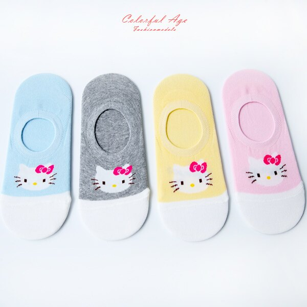 襪子 可愛KITTY船型襪 短襪 防滑矽膠設計 柒彩年代【NRS28】
