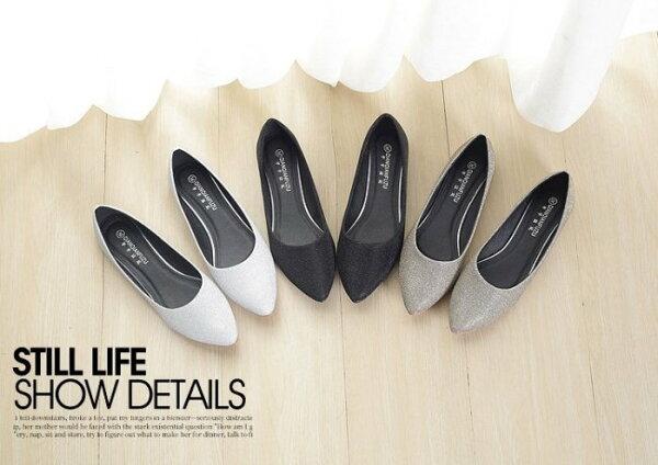 Pyf♥光澤感布面素面尖頭平底鞋素色防滑上班鞋43平底鞋