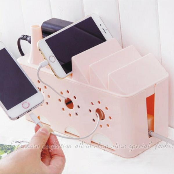 電源線插座手機支架收納盒 透氣孔電線插座 集線盒 理線盒 手機充電座 桌面收納盒【GI480】◎123便利屋◎