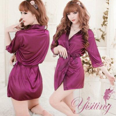 ■■iMake曖昧客■■經典浪漫!柔緞和服睡袍﹝紫﹞ (18530672)