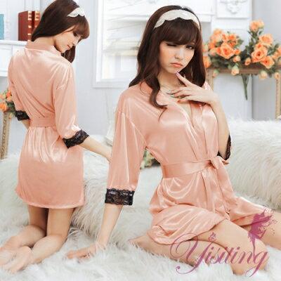 ■■iMake曖昧客■■經典浪漫!柔緞蕾絲和服睡袍﹝裸﹞ (18530802)