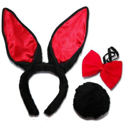 ■■iMake曖昧客■■兔女郎髮箍(黑+紅耳+紅啾)-3件 (18712013000800)