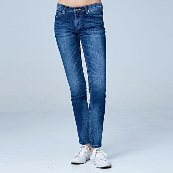 Lee418中腰緊身窄管牛仔褲-中藍色洗水