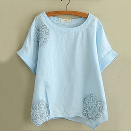 日系森系棉麻印花寬鬆T恤 (2色,M~2XL) - ORead 自由風格 2