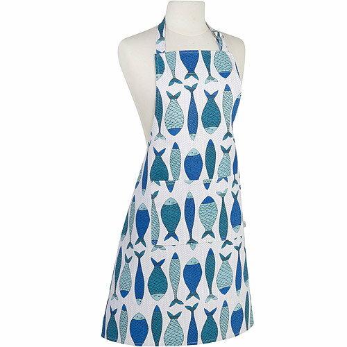 《NOW》平口單袋圍裙(藍魚)