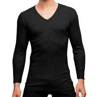 保暖服飾推薦【Gunze郡是】日本原裝進口發熱衣男生 V領長袖 黑