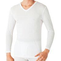 保暖服飾推薦【Gunze郡是】日本原裝進口發熱衣男生 V領長袖 白