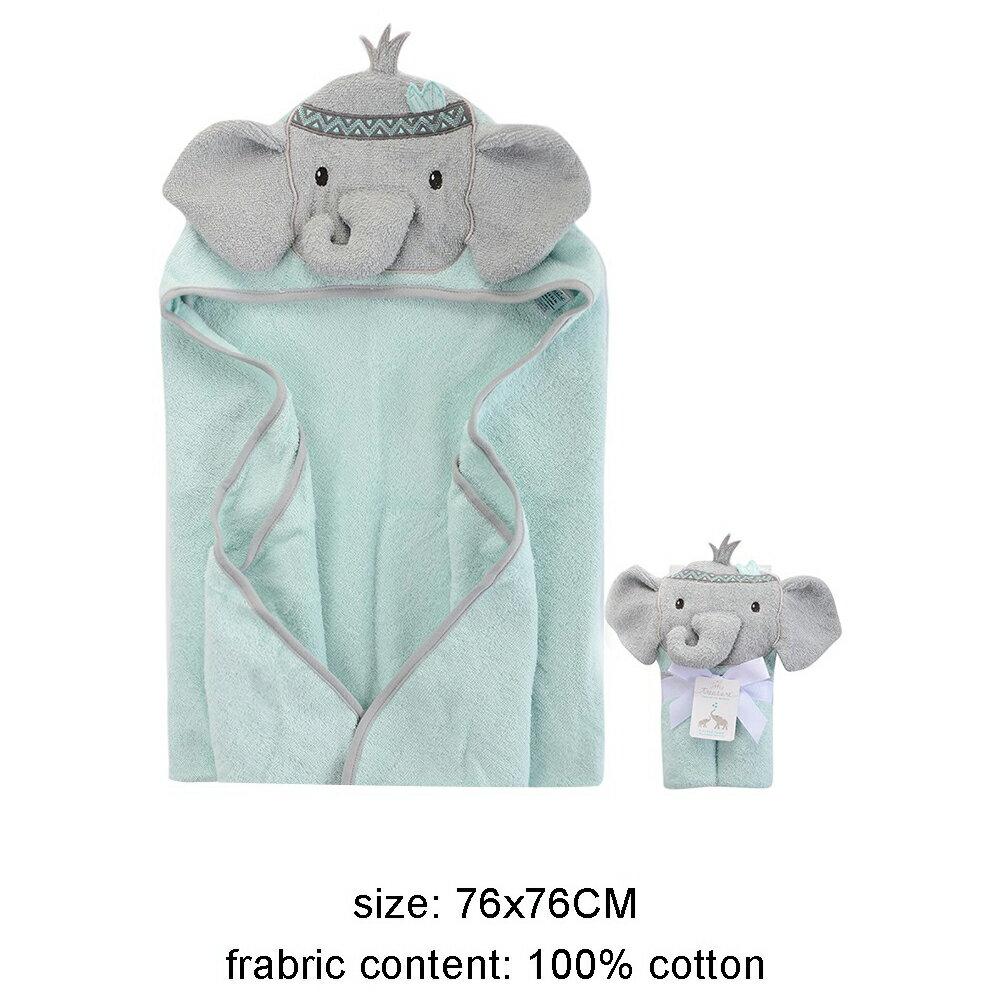 美國  luvable friends  100% 純棉嬰幼兒動物造型連帽浴巾/包巾_調皮灰象 (LF00350)