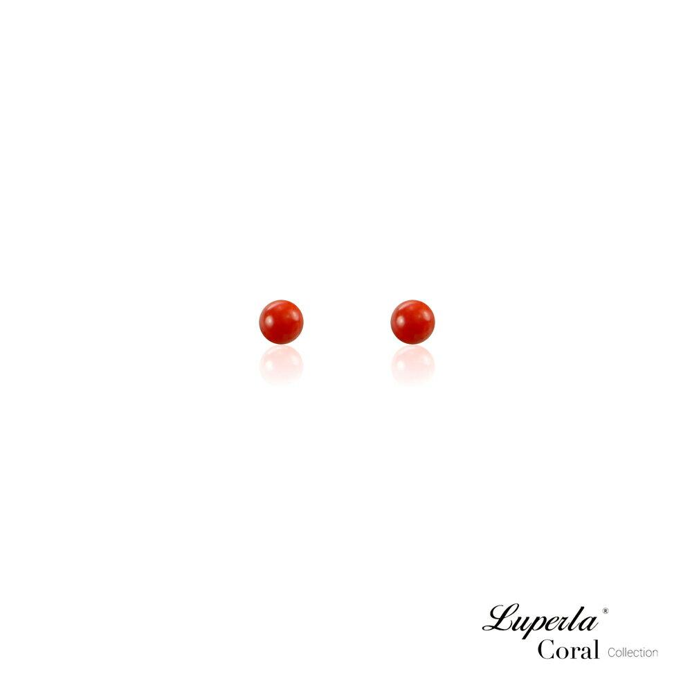 大東山珠寶 天然全紅沙丁珊瑚3-4mm針式貼耳耳環 1