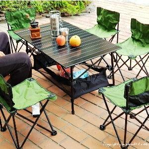 美麗大街【107012402】一桌六椅七件套鋁合金蛋捲桌+折疊椅套組
