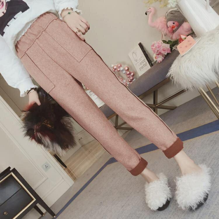 11.11超值折扣 毛呢褲女新款韓版高腰寬鬆百搭休閒哈倫褲小腳蘿蔔褲子女
