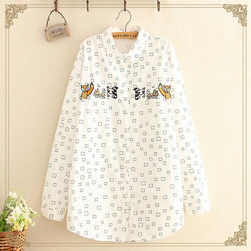 日系森女翻領方塊蘑菇長袖襯衫(3色F碼)【OREAD】 1