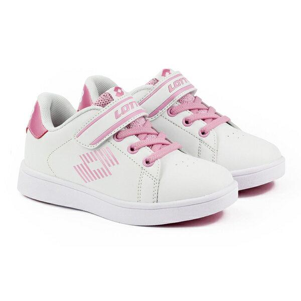 【巷子屋】義大利第一品牌-LOTTO童款1973經典網球鞋[6983]白粉超值價$700