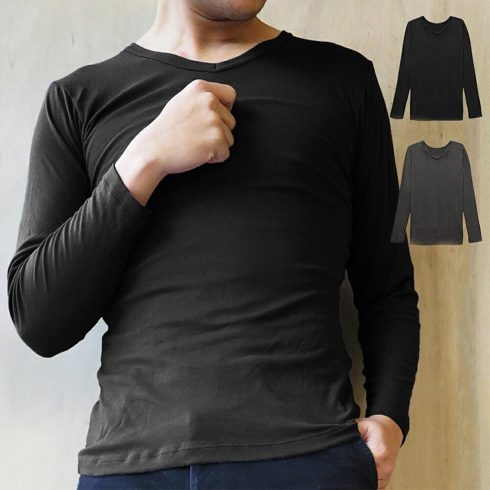 【Emon】發熱纖維系列 男性V領保暖衛生衣(黑)
