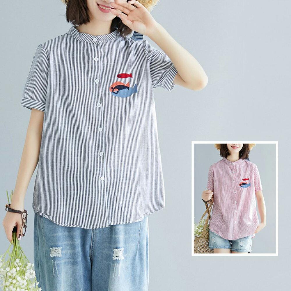 棉麻條紋刺繡小魚大碼短袖襯衫(2色M~2XL)【OREAD】 1