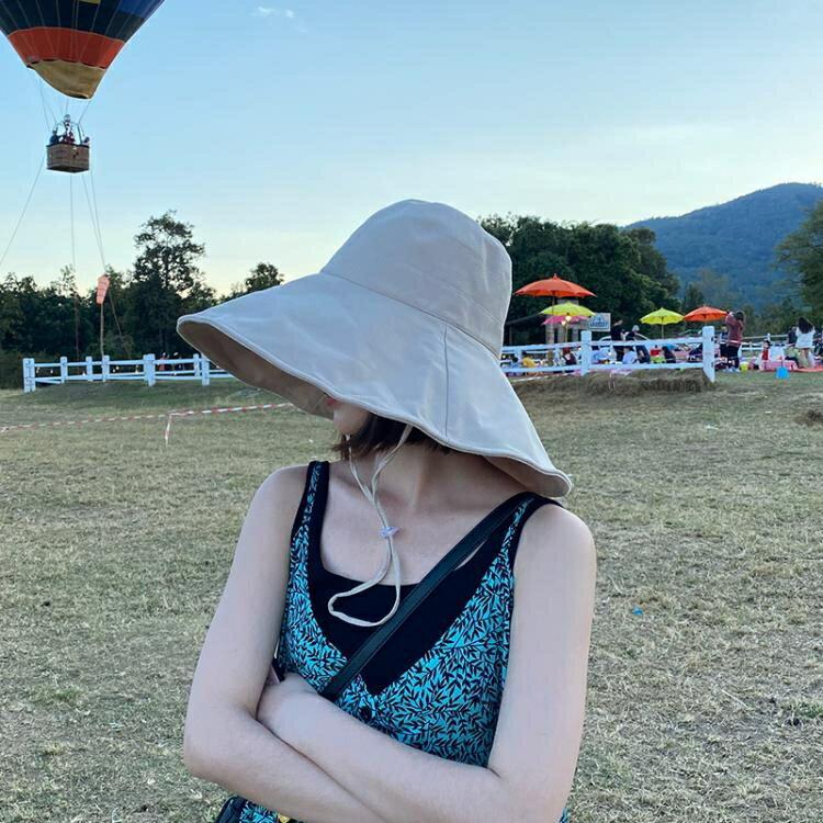 樂天優選*大檐漁夫帽女夏季可折疊太陽帽防曬遮陽帽韓版百搭帽子-曼莎時尚