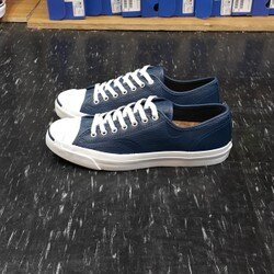 Converse 開口笑 Jack Purcell Embossed 藍色 皮革 軟木塞 鞋墊 休閒鞋 147588C