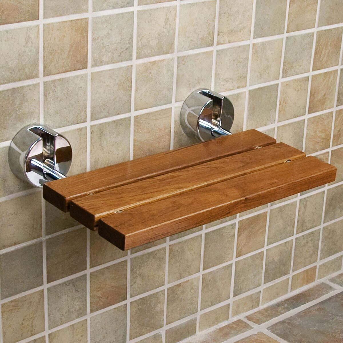 Clevr 20 Teak Modern Folding Shower Seat Bench Clear Coated Medical Wall Mount