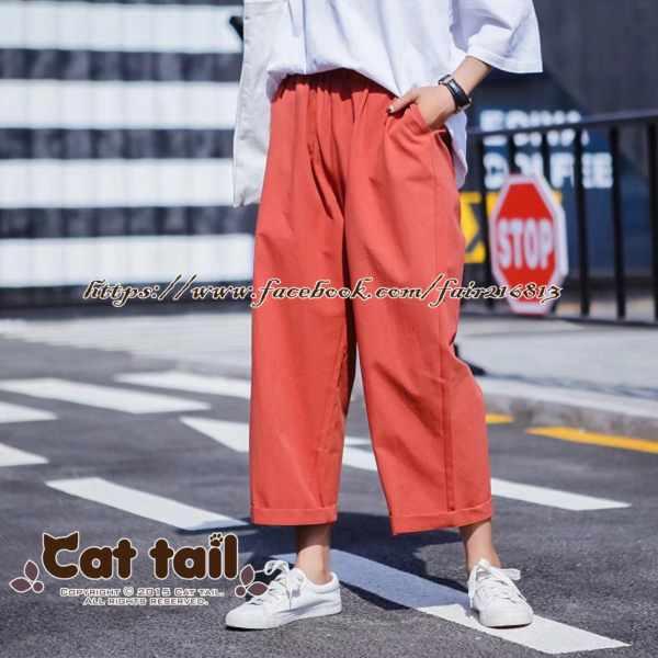《貓尾巴》TS-0880韓版休閒高腰款薄款九分褲(森林系日系棉麻文青清新)