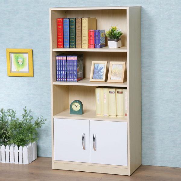 書櫃 DIY書櫃 有門書櫃 收納櫃 櫥櫃 展示櫃 置物櫃 收納櫃《Yostyle》清新森林雙門三格書櫃-楓木+白色