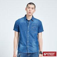 【5th STREET】男牛仔短袖襯衫-中古藍-5thSTREET官方旗艦店-潮流男裝