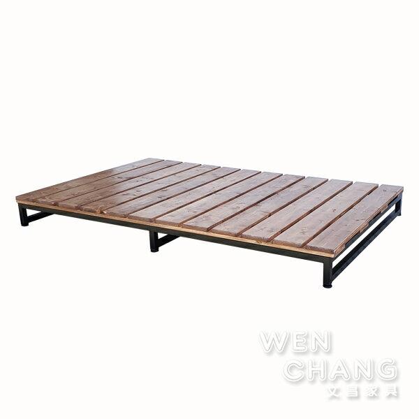 訂製品 LOFT 工業風 鐵腳+實木 鐵木棧板床架 單人加大 CUA-027 *文昌家具*