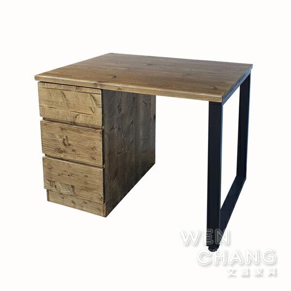 訂製品 LOFT 工業風 鐵腳+實木 鐵木 三抽口字腳書桌 適合小空間 可訂製 CUA-028 *文昌家具*