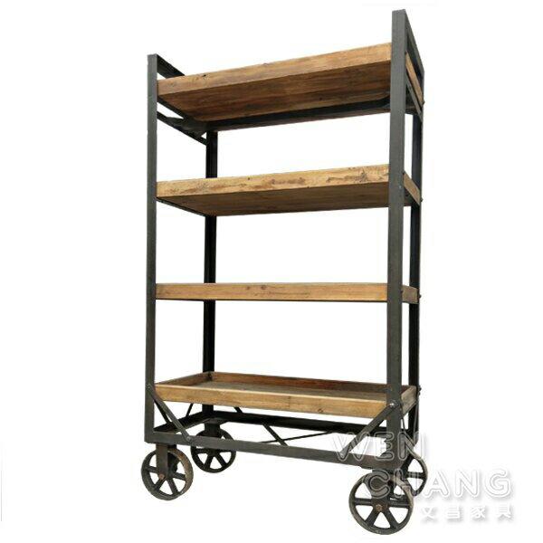 LOFT 工業風 做舊 回收木木材 閣樓有輪四層花車櫃 層架 書櫃 CB057 ~文昌 ~