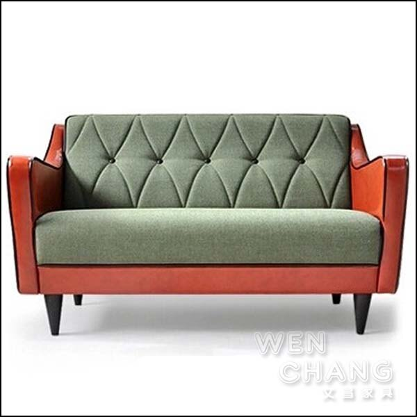 LOFT 復古工業風 文青復古沙發 雙人座 老沙發 雙色混搭 SO025-2 *文昌家具*