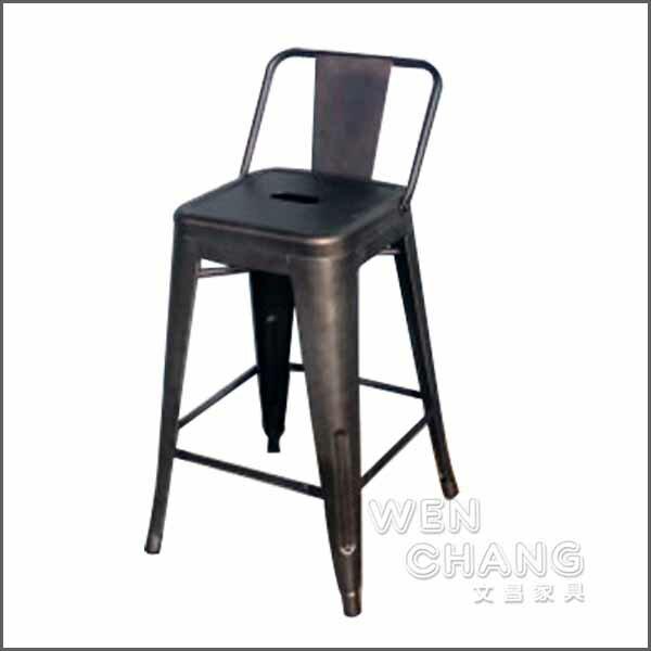 Tolix H Stool 法國工業風 60cm 鐵繡色 有背吧台椅 中島椅 復刻版 《特價》ST002B-RS *文昌家具*