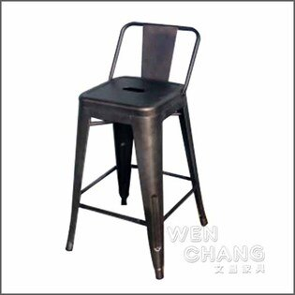TolixHStool法國工業風60cm鐵繡色有背吧台椅中島椅復刻版《特價》ST002B-RS*文昌家具*