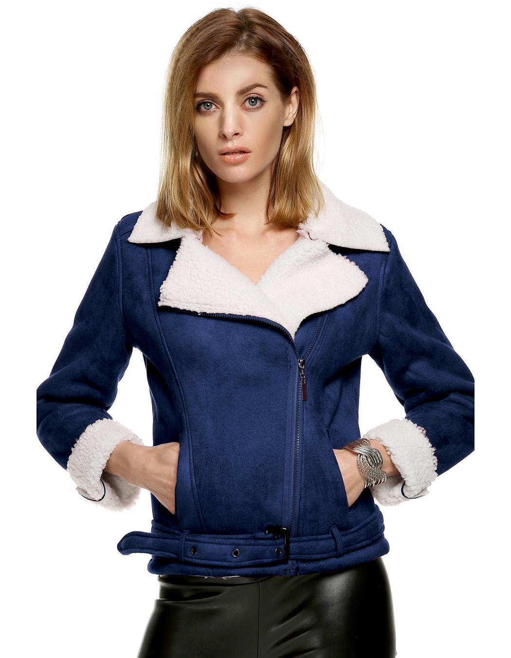 Women Lapel Long Sleeve Solid Fleeve Warm Coat 0