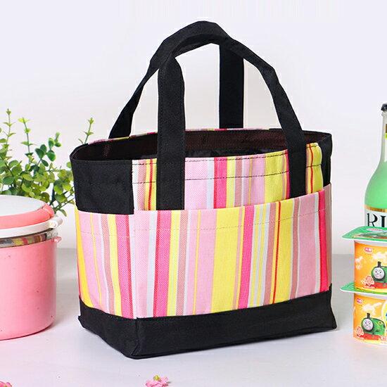 ♚MY COLOR♚條紋配色手提便當袋 野餐 購物 上班 學生 小資 水果 方包 拉鍊 早餐 午餐【B61】