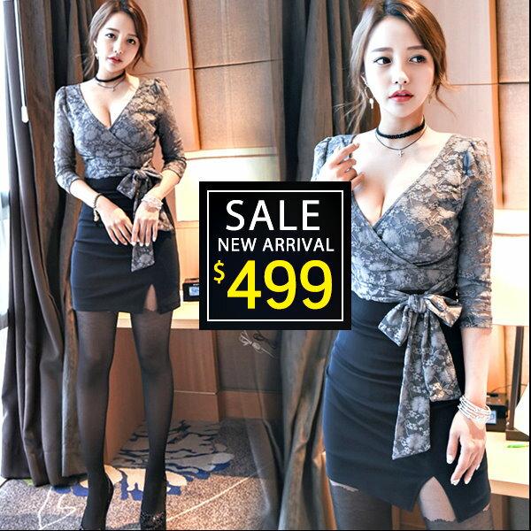 ☆克妹☆現貨+預購【ZT40907】韓國東大門 名媛風交叉美胸蕾絲假二件開叉連身洋裝