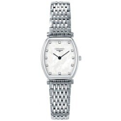 LONGINES浪琴表 L42054876嘉嵐石英酒桶超薄真鑽腕錶/白面22.2*24.5mm