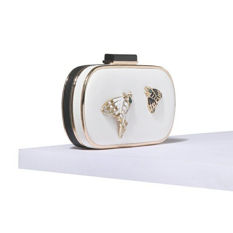 晚宴包皮革手拿包-黑白撞色鑲鑽昆蟲女包包73vj21【獨家進口】【米蘭精品】